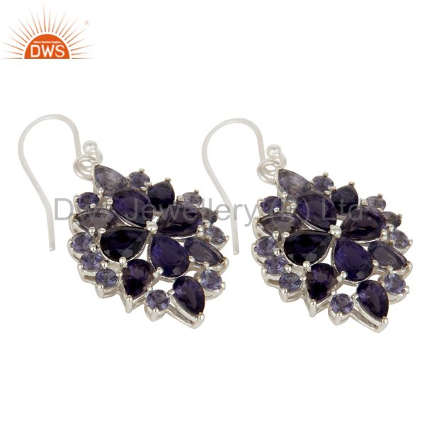 Exporter Genuine 925 Sterling Silver Iolite Gemstone Solitaire Dangle Earrings