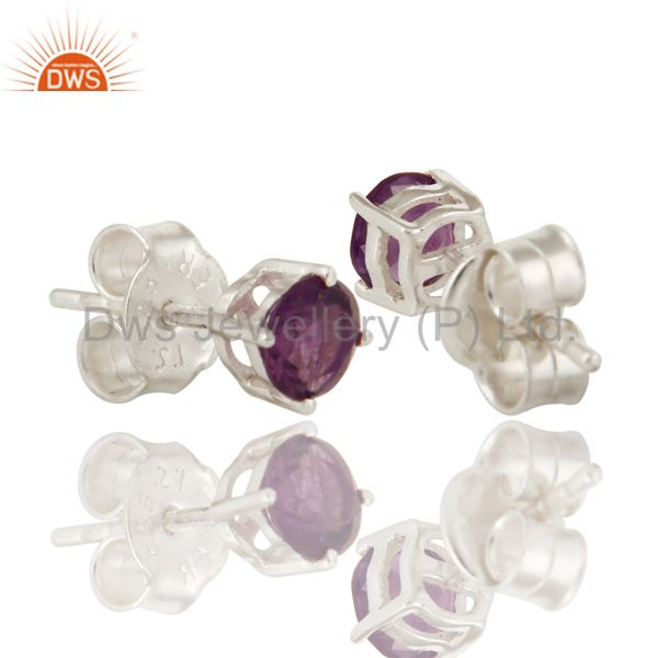 Exporter 925 Sterling Silver Amethyst Gemstone Round Stud Earrings For Womens
