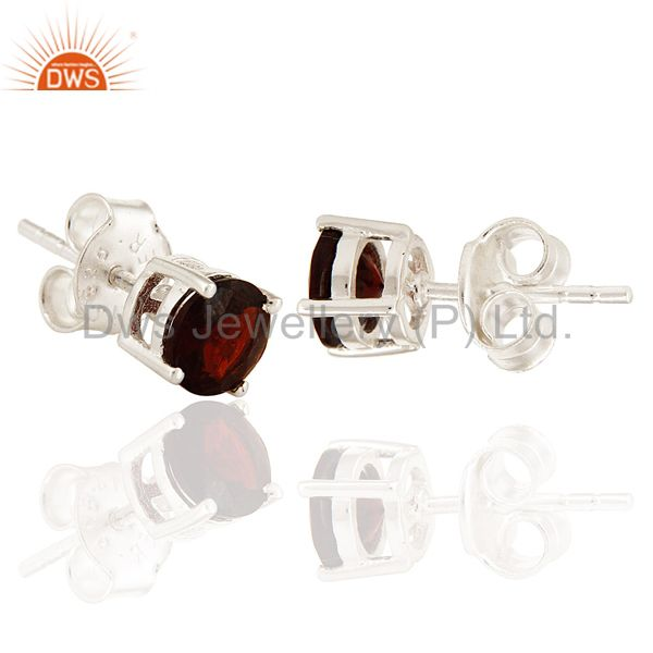 Exporter Natural Garnet Genuine Sterling Silver Gemstone 6mm Stud Earrings For Her