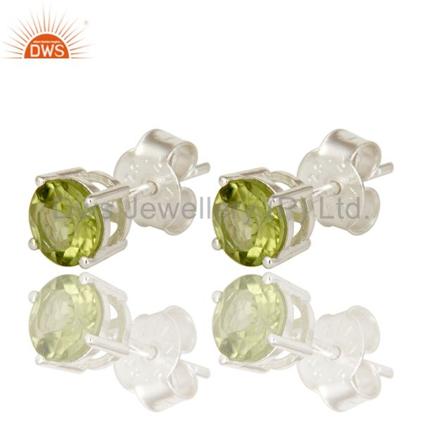 Exporter 925 Sterling Silver Green Peridot Gemstone Basket Set Stud Earrings