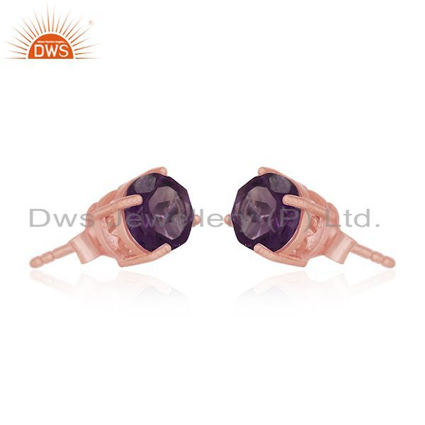 Exporter Amethyst Gemstone 925 Silver Rose Gold Plated Stud Earrings Manufacturer India