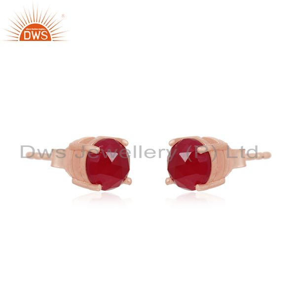 Exporter Rose Gold Plated Sterling Silver Pink Chalcedony Gemstone Round STud Earrings