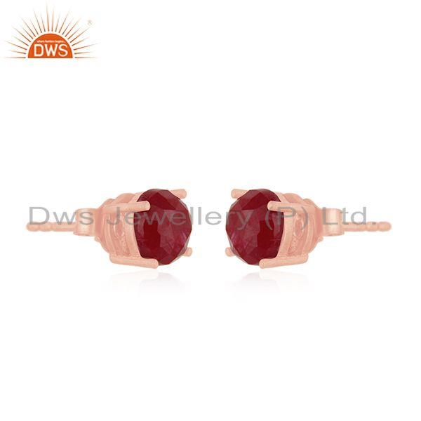 Exporter Round Ruby Corundum Gemstone Rose Gold Plated 925 Silver Stud Earrings Wholesale