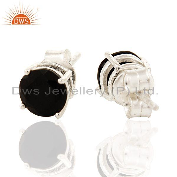 Exporter 7mm Round Black Onyx Gemstone Sterling Silver Stud Earrings For Womens