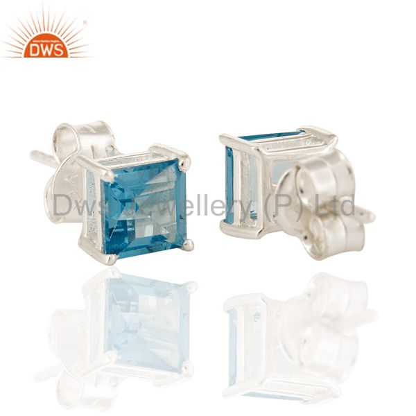 Exporter Natural Blue Topaz Princess Cut Stud Earrings  In 925 Sterling Silver