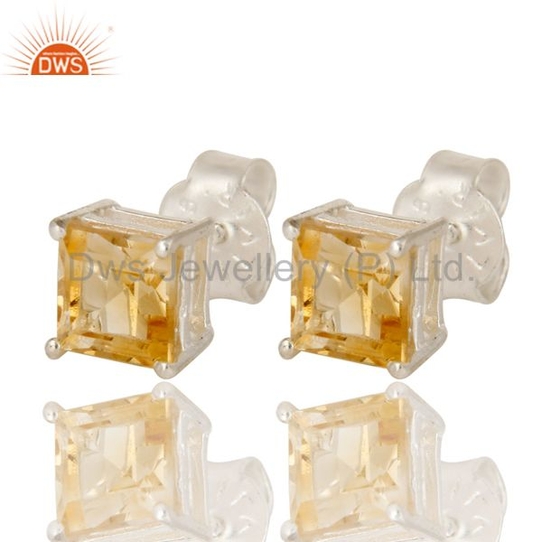 Exporter 925 Sterling Silver Citrine Gemstone Princess Cut Basket Set Stud Earrings