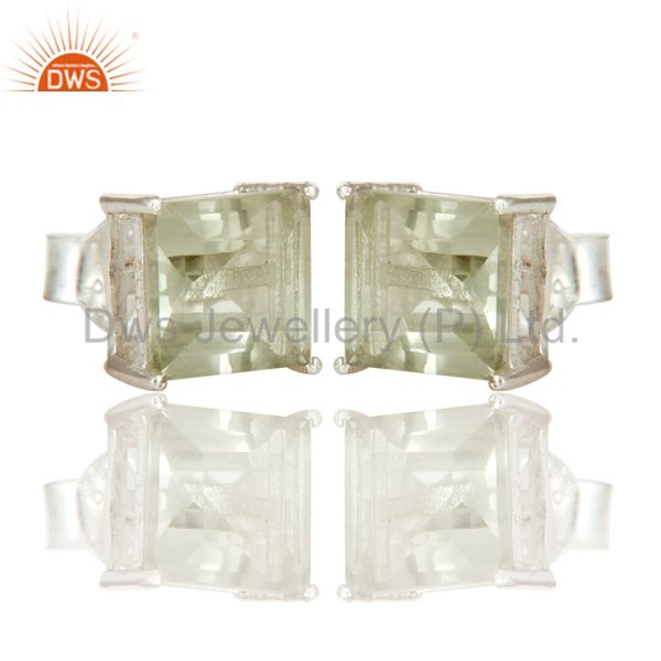 Exporter Green Amethyst AKA Prasiolite Gemstone 925 Sterling Silver Prong Stud Earrings