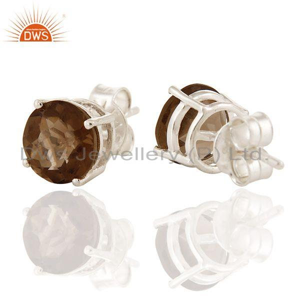 Exporter Natural Smoky Quartz Gemstone 925 Sterling Silver Prong Set Stud Earrings