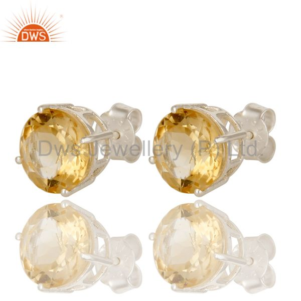 Exporter 925 Sterling Silver Natural Citrine Round Basket Set Womens Stud Earrings