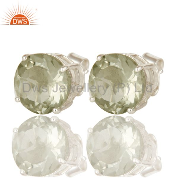 Exporter Green Amethyst Gemstone Basket Set Stud Earrings For Womens In Sterling Silver