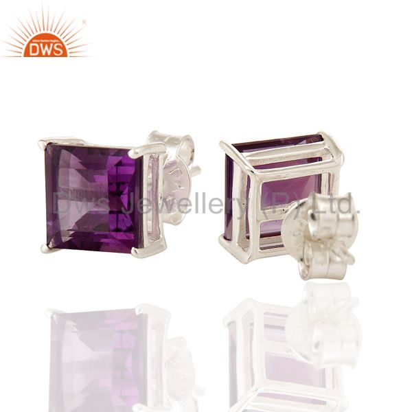 Exporter 925 Sterling Silver Amethyst Gemstone Princess Cut Stud Earrings Jewelry