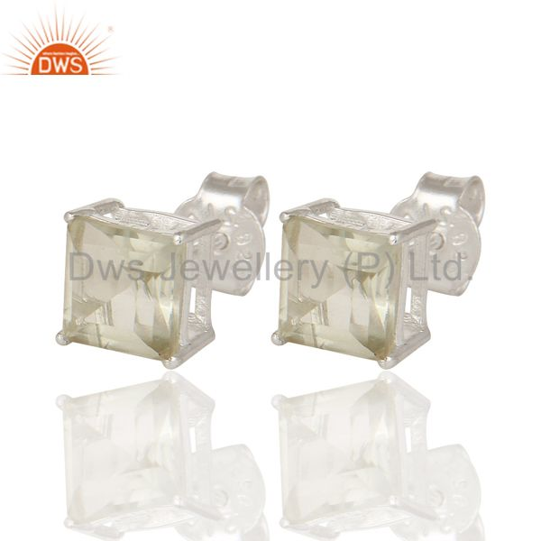 Exporter 925 Sterling Silver Green Amethyst Gemstone Square Cut Basket Set Stud Earrings