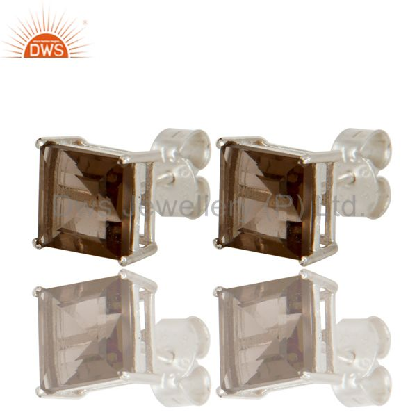 Exporter 925 Sterling Silver Princess Cut Smoky Quartz Basket Set Womens Stud Earrings