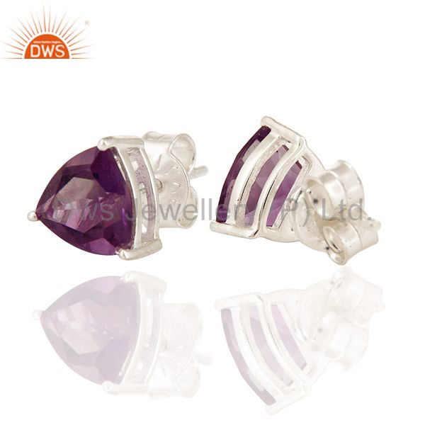 Exporter 8mm Amethyst Trillion Cut Gemstone Stud Earrings In 925 Sterling Silver