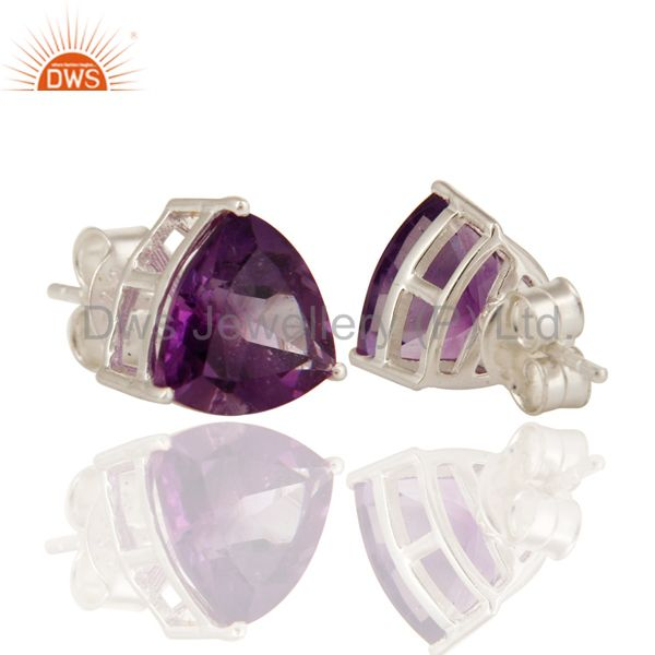 Exporter Solid Sterling Silver Natural Amethyst Gemstone Trillion Cut Studs Earrings