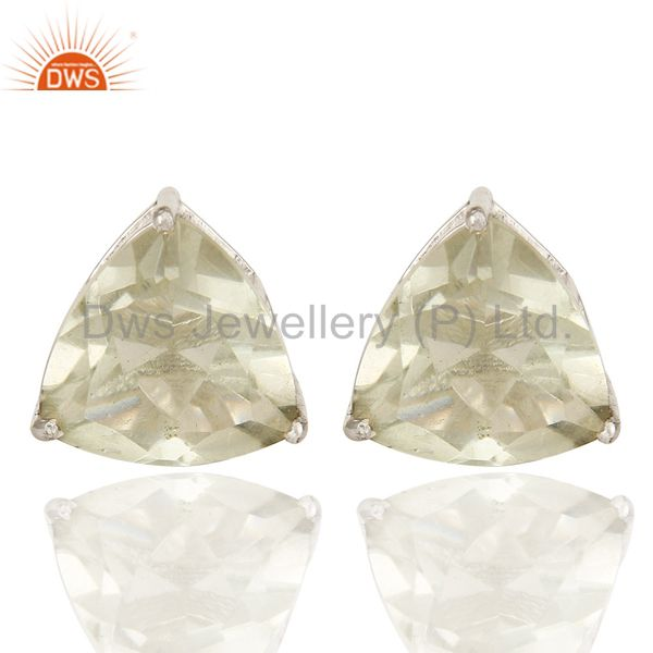 Exporter 925 Sterling Silver Green Amethyst Trillion Basket Set Stud Earrings For Womens