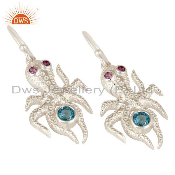 Exporter Amethyst And Blue Topaz Gemstone Sterling Silver octopus Dangle Earrings