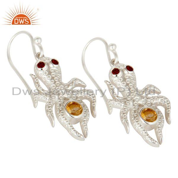 Exporter Citrine and Garnet Gemstone Sterling Silver Octopus Dangle Earrings