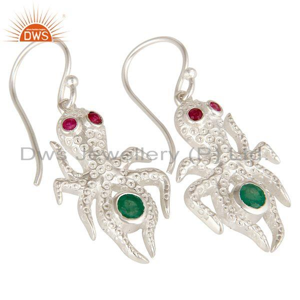 Exporter Designer Sterling Silver Ruby And Emerald Gemstone Octopus Dangle Earrings