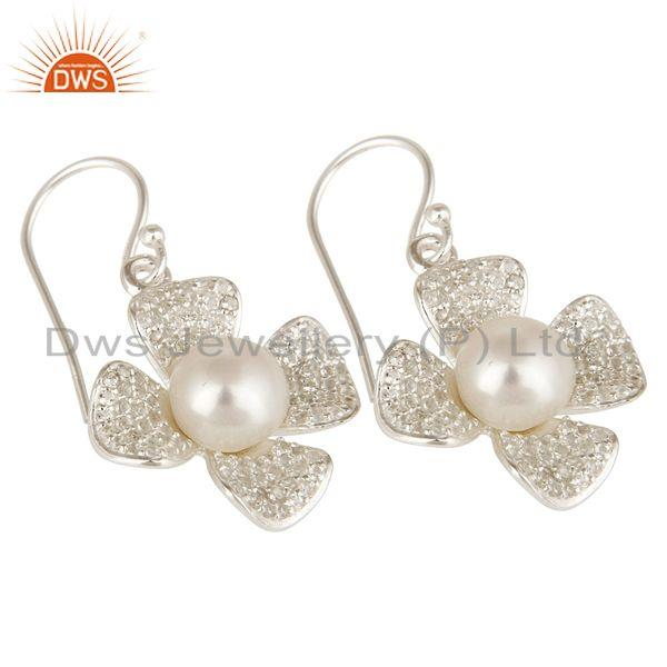 Exporter Natural Pearl And White Topaz Sterling Silver Gemstone Flower Dangle Earrings