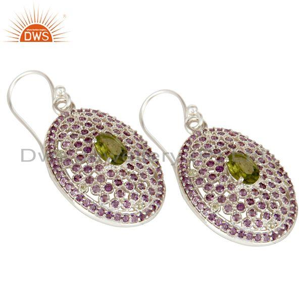 Exporter Sterling Solid Silver Amethyst and Peridot Gemstone Designer Dangler Earring
