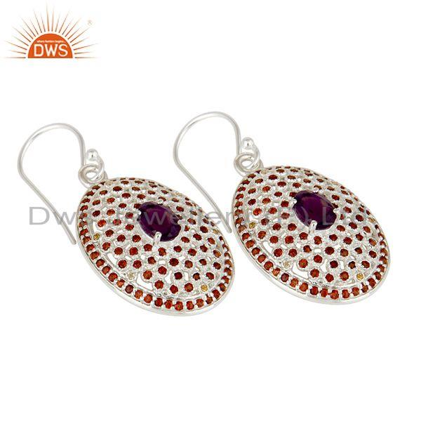 Exporter Sterling Solid Silver Amethyst, and Garnet Gemstone Designer Dangler Earring