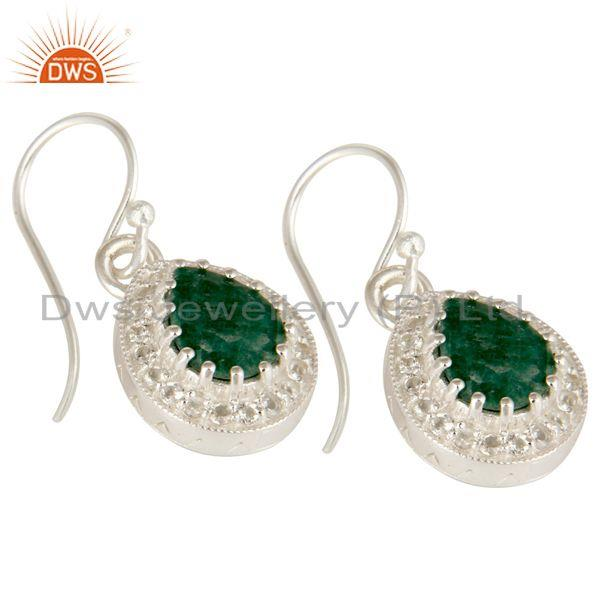 Exporter Green Emerald Gemstone Sterling Silver Drop Earrings With White Topaz
