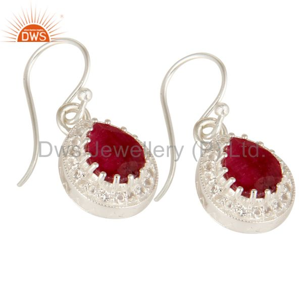 Exporter Dyed Ruby And White Topaz Sterling Silver Gemstone Drop Earrings