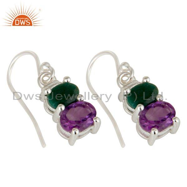 Exporter 925 Sterling Silver Amethyst And Emerald Prong Set Gemstone Dangle Earrings