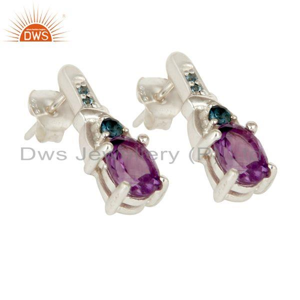 Exporter 925 Sterling Silver Amethyst and London Blue Topaz Post Stud Earrings