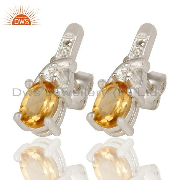Exporter 925 Sterling Silver Natural Citrine And White Topaz Post Stud Earrings