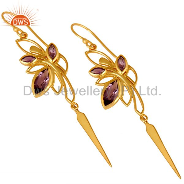 Exporter 14K Yellow Gold Plated Amethyst Gemstone Modern Design Dangle Earrings