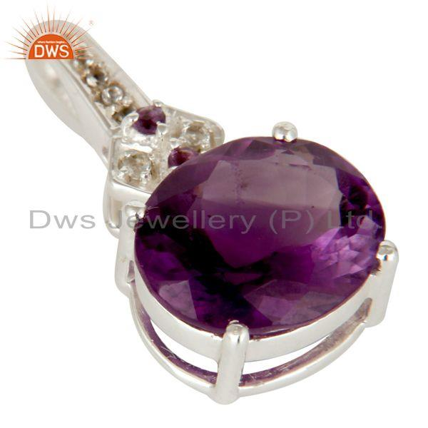 Exporter White Topaz And Amethyst 925 Sterling Silver Fine Gemstone Pendant Jewelry