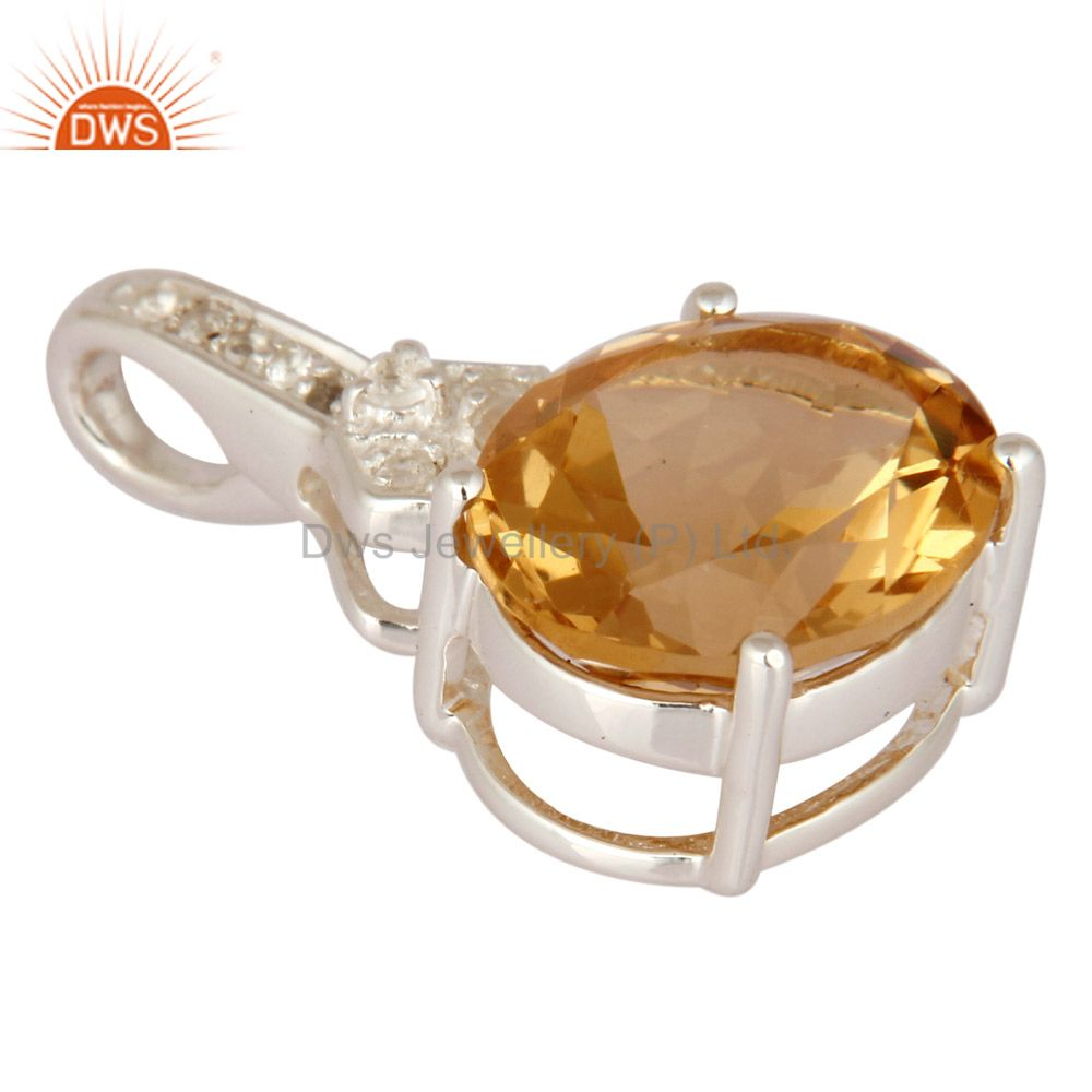 Exporter White Topaz And Citrine 925 Sterling Silver Fine Gemstone Pendant Jewelry