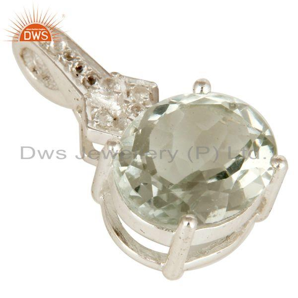 Exporter 925 Sterling Silver Green Amethyst Gemstone Prong Set Pendant With White Topaz