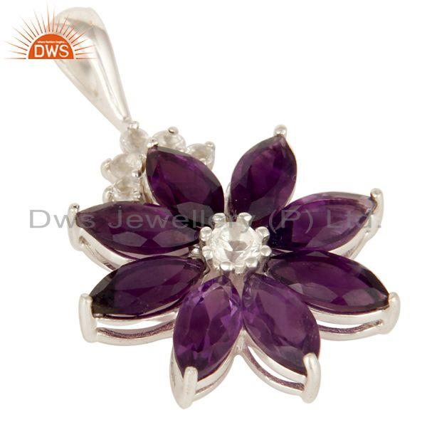Exporter 925 Sterling Silver Amethyst Cluster Flower Pendant With White Topaz