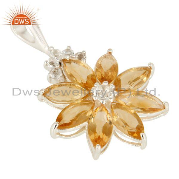 Exporter Natural Citrine 925 Sterling Silver Solitaire Pendant With White Topaz