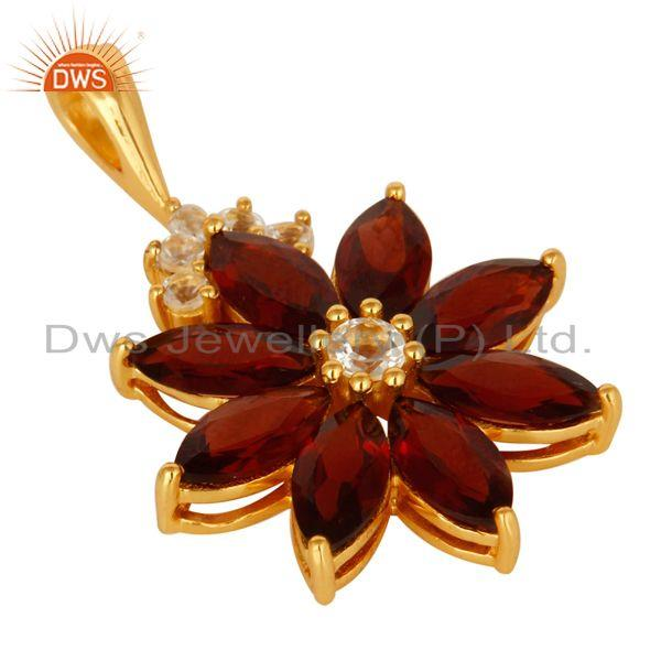 Exporter 18K Gold Plated Sterling Silver Marquise Cut Garnet Pendant With White Topaz