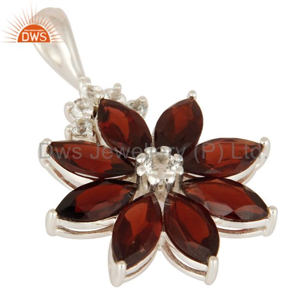 Exporter 925 Sterling Silver Natural Garnet Gemstone Solitaire Pendant With White Topaz