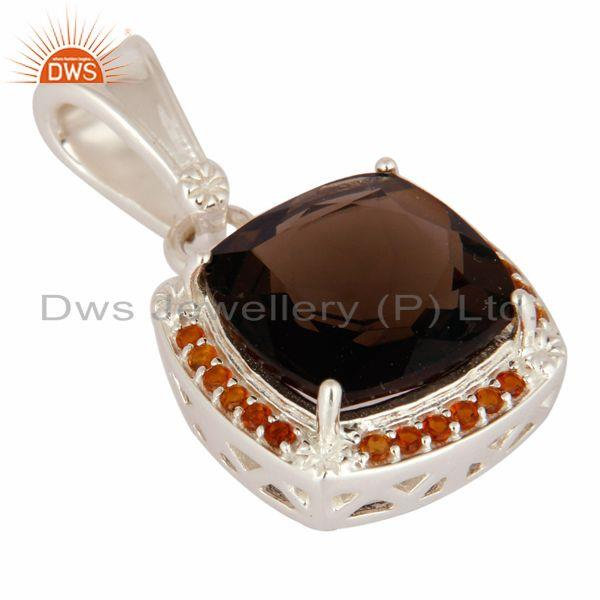 Exporter Cushion Cut Smoky Quartz And Citrine Pendant in 925 Sterling Silver Jewelry