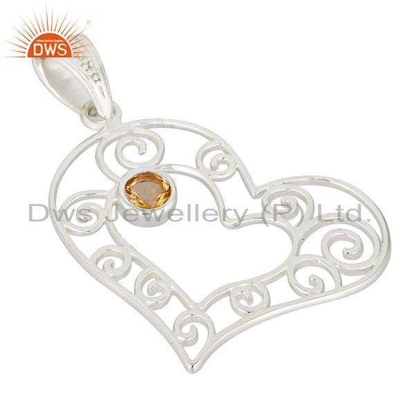 Exporter Natural Citrine Gemstone Heart Designs Solid 925 Sterling Silver Pendant