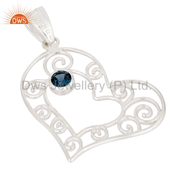 Exporter Genuine 925 Sterling Silver Heart Design Pendant With Natural London Blue Topaz