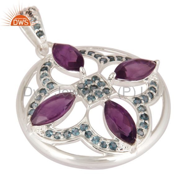 Exporter High Quality Solid 925 Sterling Silver Amethyst And Blue Topaz Gemstone Pendant
