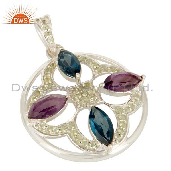 Exporter 925 Sterling Silver Green Amethyst, London Amethyst And Peridot Pendant