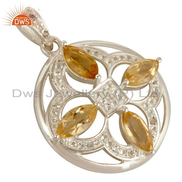 Exporter Genuine Citrine And White Topaz 925 Sterling Silver Floral Designs Pendant