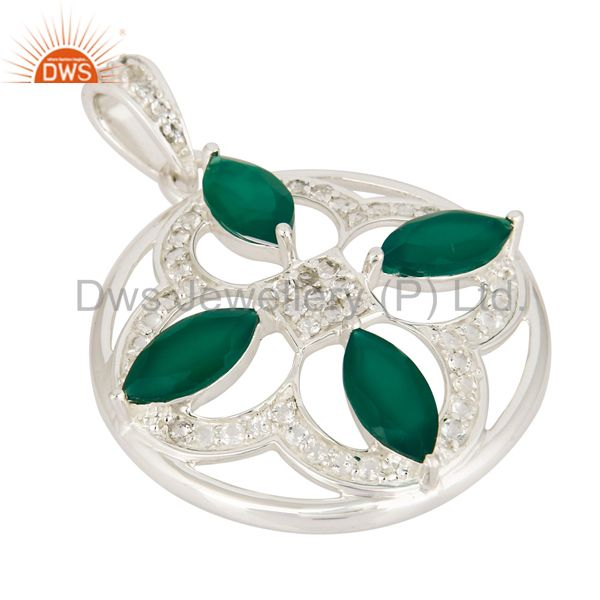 Exporter Natural Green Onyx 925 Sterling Silver Unique Design Pendant With White Topaz