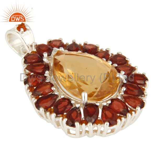 Exporter Natural Citrine And Garnet Solitaire 925 Sterling Silver Pendant