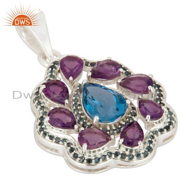 Exporter 925 Sterling Silver Natural Amethyst And London Blue Topaz Solitaire Pendant