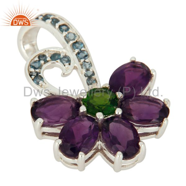 Exporter Natural Amethyst, Blue Topaz And Chrome Diopside Pendant In 925 Sterling Silver