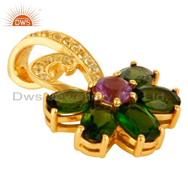 Exporter Peridot, Amethyst And Chrome Dispose 18K Gold Plated Sterling Silver Pendant